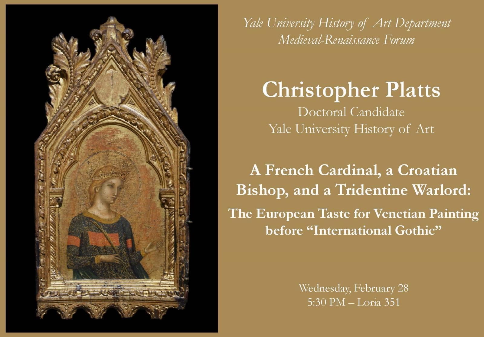 medieval renaissance colloquium christopher platts yale